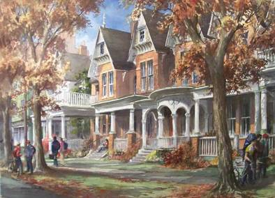 "Edwardian Porches, Huron Street | 30"" x 40"" watercolour 