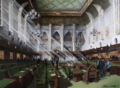 "House of Commons Chamber, Ottawa (looking towards the main entrance) | 36"" x 48"" acrylic on canvas 