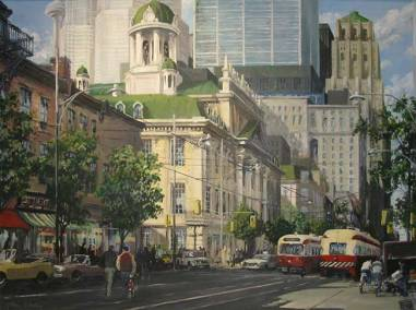 "King Street East with St. Lawrence Hall and Streetcars | 30"" x 40"" oil on canvas 