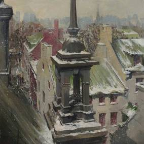 "Roof Tops in Old Montreal | 40"" x 40"" acrylic on canvas 
