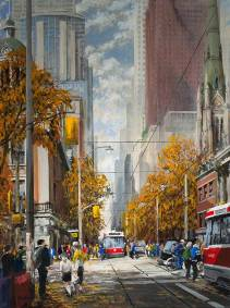 "Saturday Morning at King and Jarvis, Toronto | 40"" x 30"" acrylic 