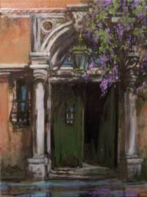 "Canal Door and Wisteria, Venice |  16"" x 12"" acrylic on canvas 