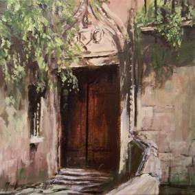 "Doorway of the Palazzo Sanudo Van Axel, Venice |  12"" x 12"" acrylic on canvas 