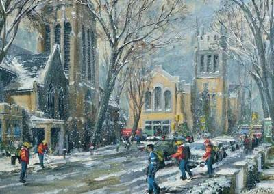 "The First Snow Balls of Winter (Heath and Yonge Streets, Toronto) |  The 2011 Christmas Card is being reproduced by TPH as a fundraiser for ""food and meal related children's charities across Canada""."