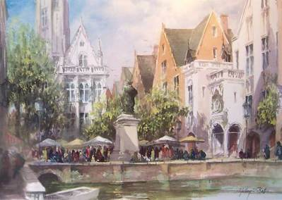 "Quay Side, Bruges, Belgium | 21"" x 14"" watercolour 