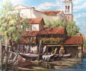 "San Trovaso, The Gondola Boat Yard, Venice | 30"" x 36"" acrylic on canvas 
