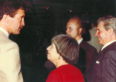 1982. Tony Batten, Exhibition Chairperson at a CSPWC Gala Exhibition in Toronto's O'Keefe Centre. Left - Right: Tony, Sheila Ogilvie, Osvald Timmas and war-artist Will Ogilvie.