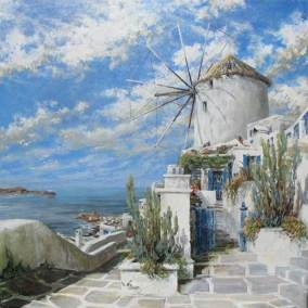"The Old Mill (Oia, Thera/Santorini, Greece) |  40"" x 40"" acrylic on canvas 