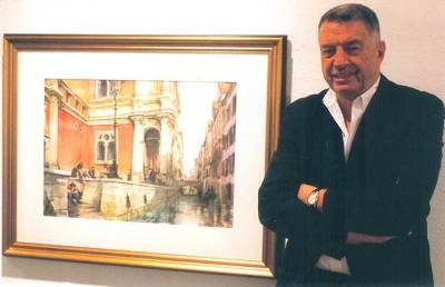 "2009. Tony with his award winning watercolour at the ""Treasures"" show."