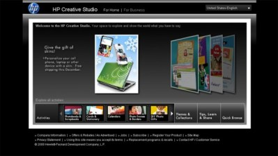 HP Creative Studio : Landing Page