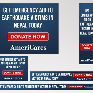 These simple, yet powerful, text-only banner ads were online within an hour of the Nepal Earthquake disaster.