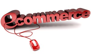 3D rendering of the word e-commerce connected to a computer mouse