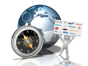 3d illustration of a glossy globe on a white floor/background with a large simple compass sitting in front of it