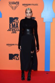 SEVILLE, SPAIN - NOVEMBER 03: Dua Lipa attends the MTV EMAs 2019 at FIBES Conference and Exhibition Centre on November 03, 2019 in Seville, Spain. (Photo by Kate Green/Getty Images for MTV)