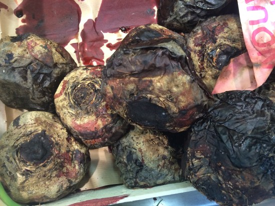 Beautiful beetroot baked that has been baked in an oven, on display in Leclerc