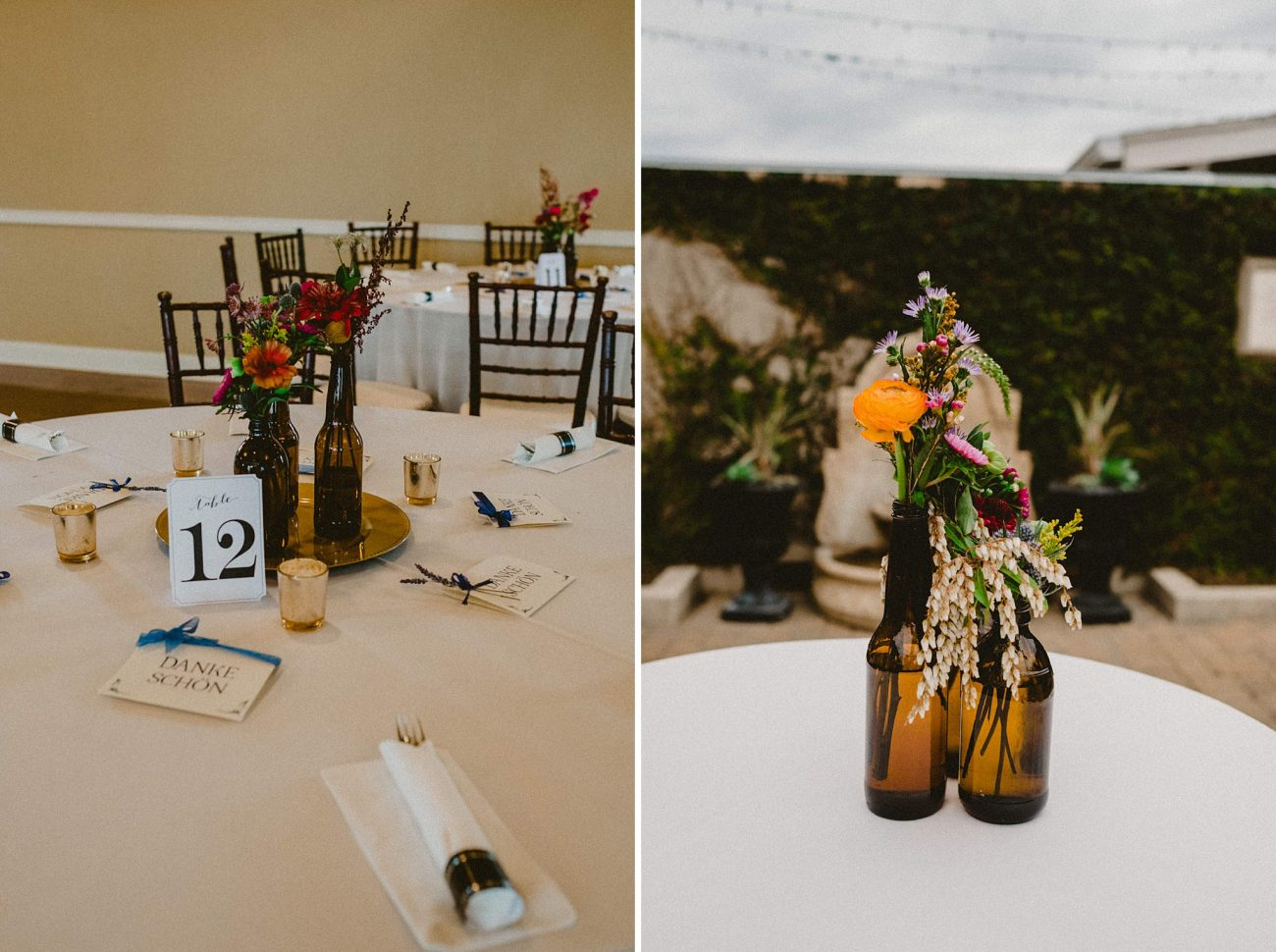 flowers in beer bottles for wedding