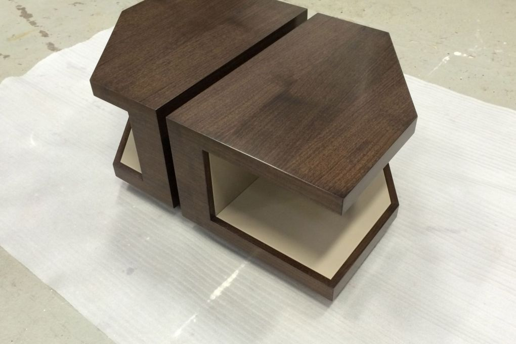 Asymmetric Nesting Coffee Table Commission in Walnut with Leather Lined Interior Shelves-gallery