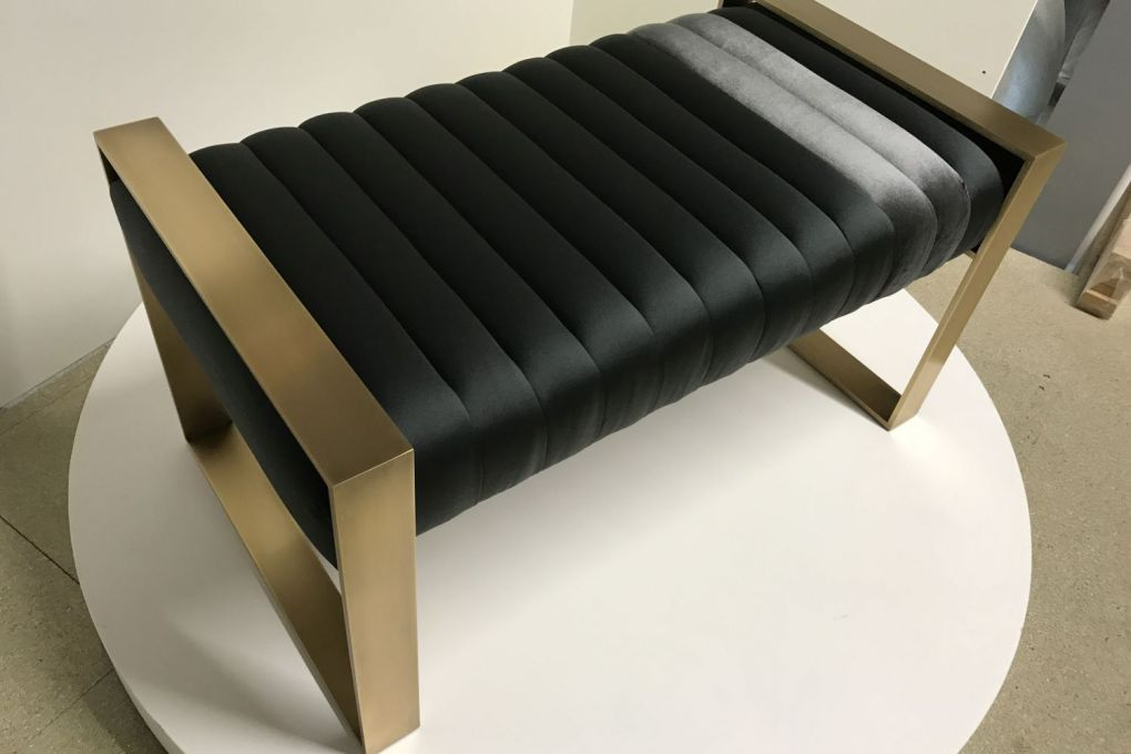 Brass Ottoman with Satin and Velvet Upholstery ii-gallery