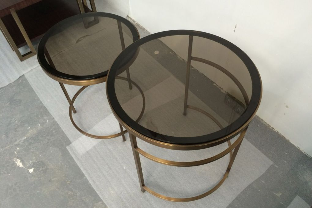 Circular Nesting Side Table Drinks Tables in Brass with Bronze Tinted Glass ii-gallery