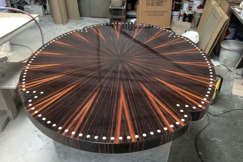 Coffee Table Top Deatil in Macassar Ebony with Faux Ivory Inlay and High Gloss Lacquer Emile Jacques Ruhlmann Inspired Furniture-gallery