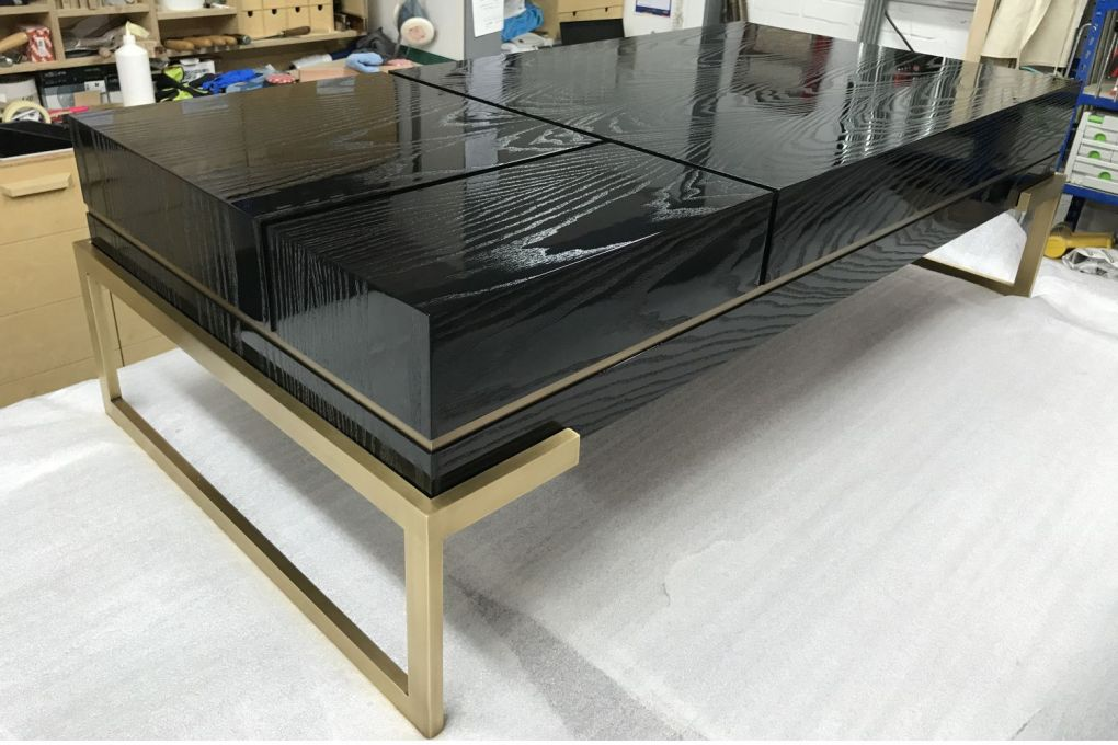 Coffee Table in High Gloss Black Lacquer Open Grain Finish with Brass Leg Structure and Inlay Detail-gallery