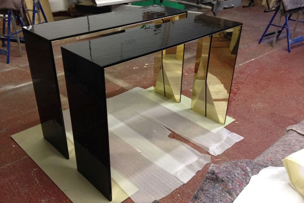 Console Table Commission in Specialist Rippled Black Lacquer and Polished Brass-gallery