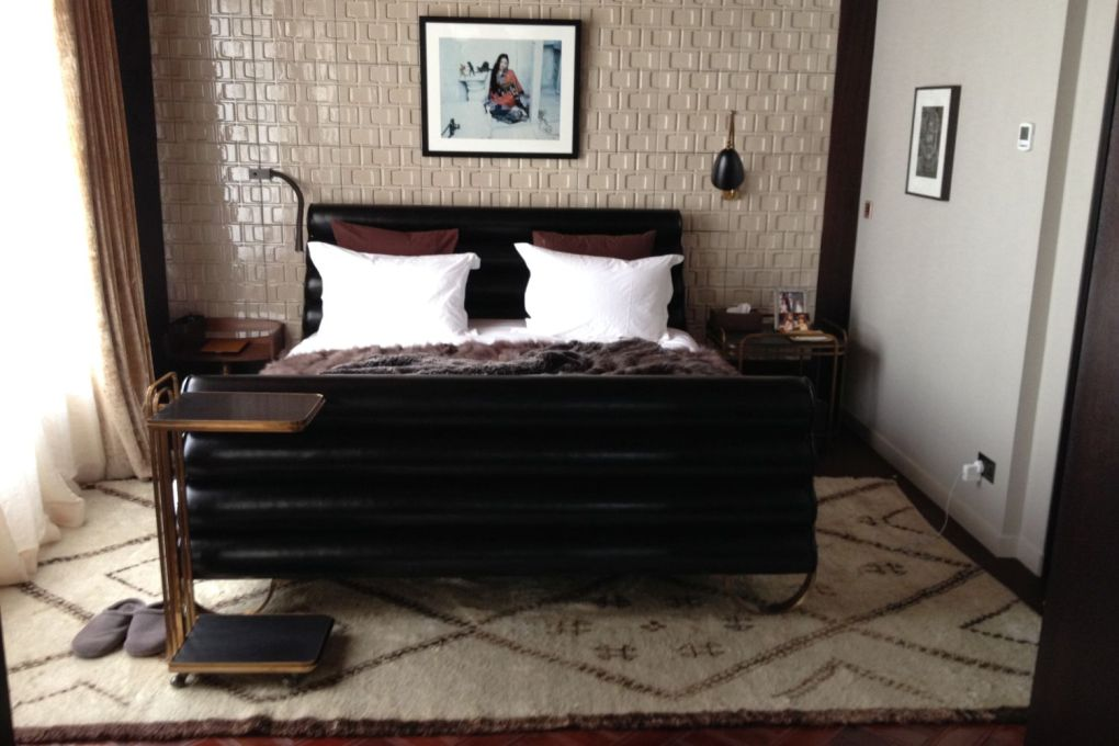Luxury Leather Upholstered Bed with Antique Brass Legs -gallery