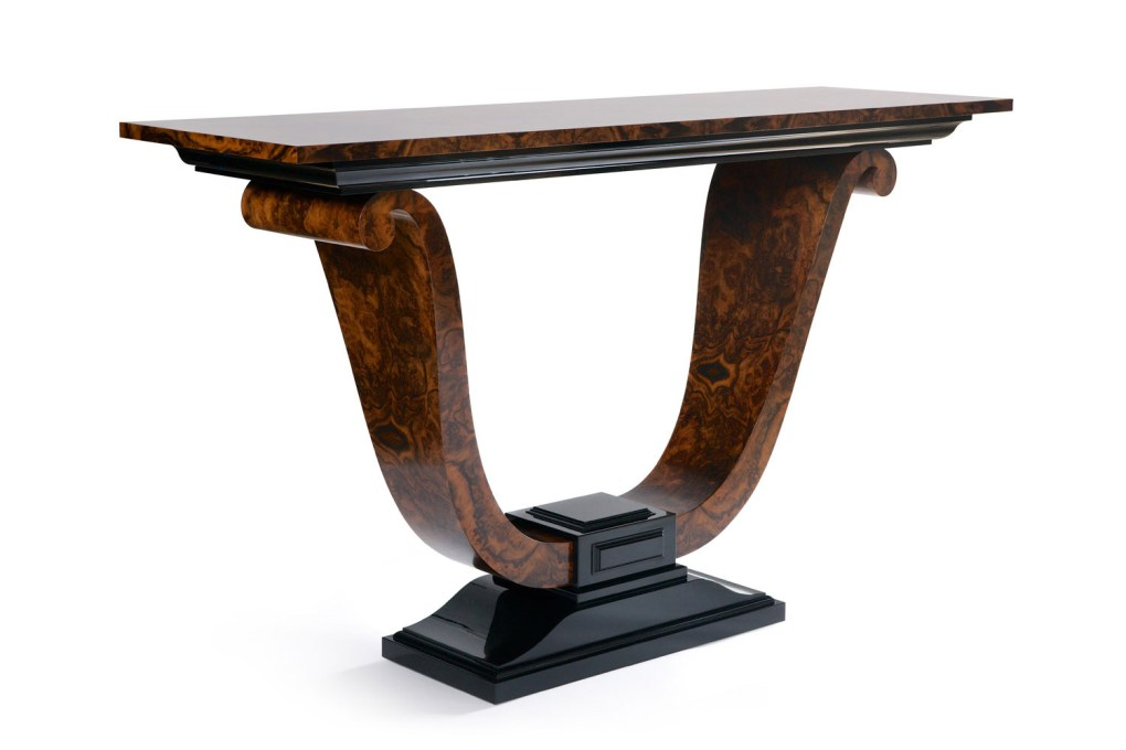 Scroll Console Table in Burr Walnut and High Gloss Black Lacquer ii