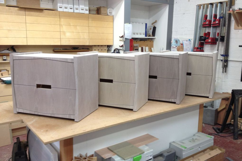 Set of Four Bedside Tables in two Shades of Pre Dyed Grey Stained Veneer-gallery
