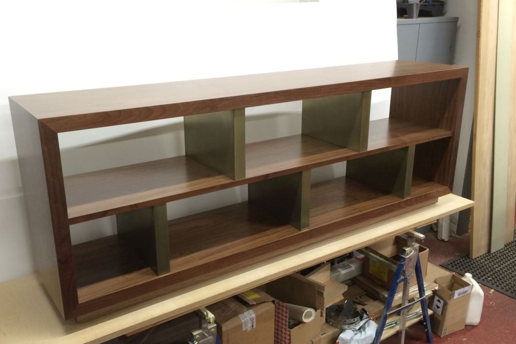 Walnut and Antique Brass Low Level Shelving-gallery
