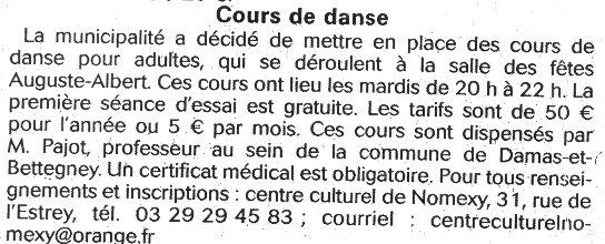 Cours de danse à Nomexy