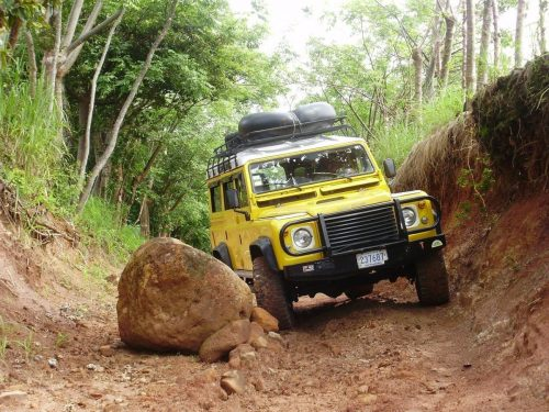 Landrover on a difficult terrain.