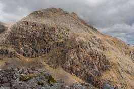 The huge south face of Ill Crag from Pen summit
