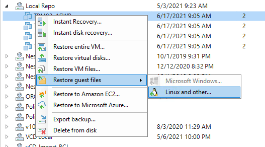 Linux File Level Recovery
