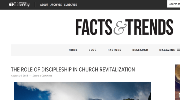 New Post on Lifeway Pastors – The Role of Discipleship in Church Revitalization