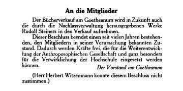 Bücherbeschluss, erschienen im Mitteilungsblatt der Anthroposophischen Gesellschaft am 14. Januar 1968