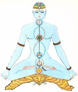 Traditionelle indische Darstellung des Menschen mit seinen Lotosblumen