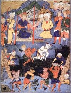 Alexander erhält Besuch vom geheimnisvollen Khidr, während er eine Mauer gegen Gog und Magog errichten lässt.