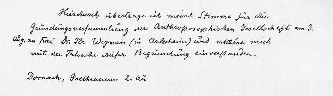 Vollmacht Steiners 1924