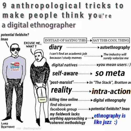 9 anthropological tricks to make people think you are a digital ethnographer