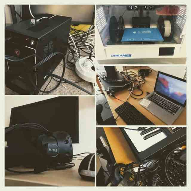 Collage of photos of researcher technologies: engulfed by cables, devices, and tools