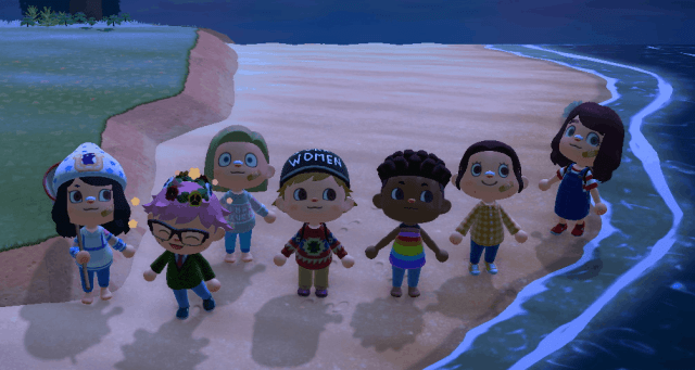 Animal Crossing avatars crowded on a virtual beach.