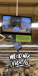"""The author takes a photo of themselves in a CCTV screen in a store; a filter says """"Weekend Vibes."""""""