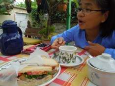 Having breakfast outside with Connie Ignacio Genato, friends since grade school in Manila