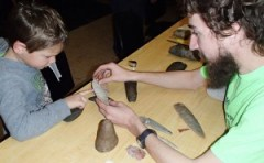 Max Forton and a young explorer 'Dig the Past' at MSU Museum, via Adrienne Daggett