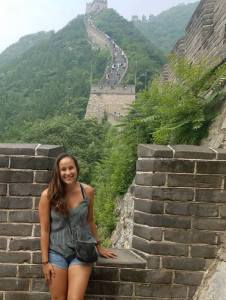 Marcella Oman on the Great Wall of China