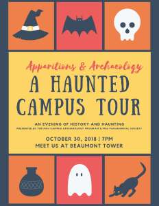 Cam;us archaeology haunted campus tour flyer