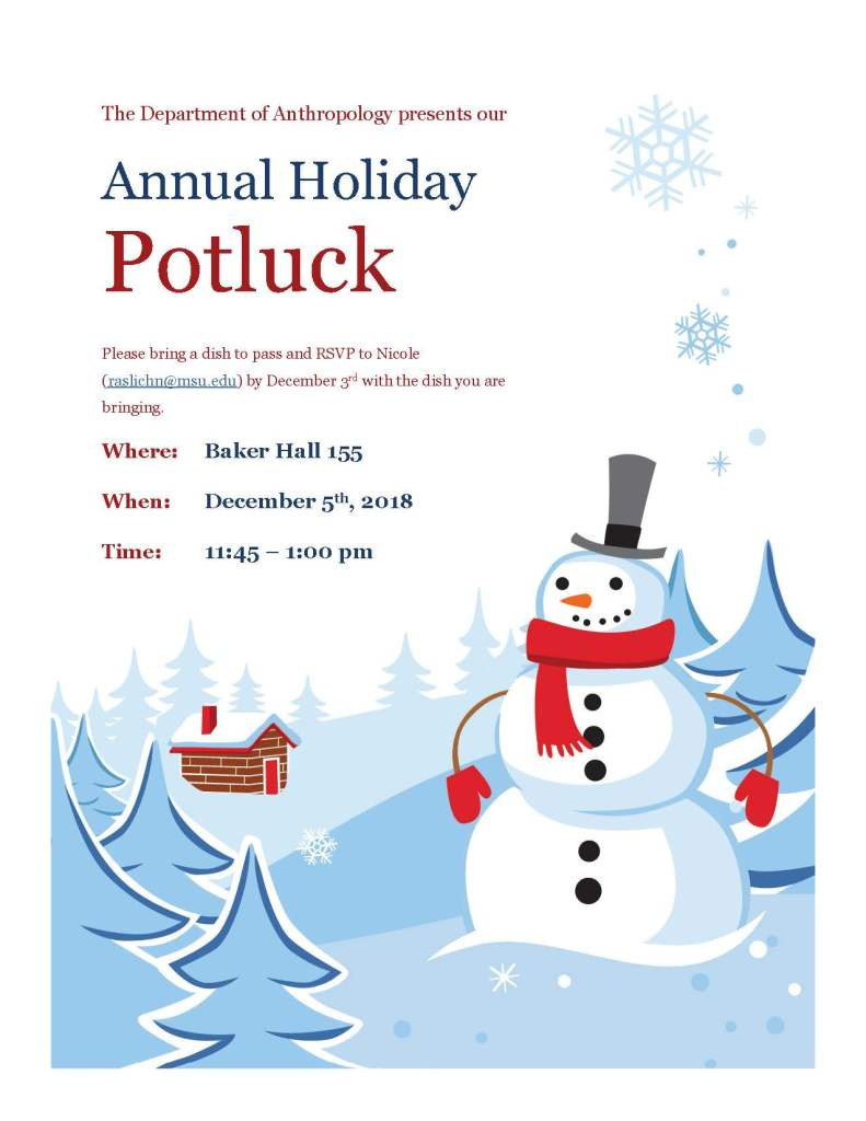 flyer with a snowman announcing a potluck lunch