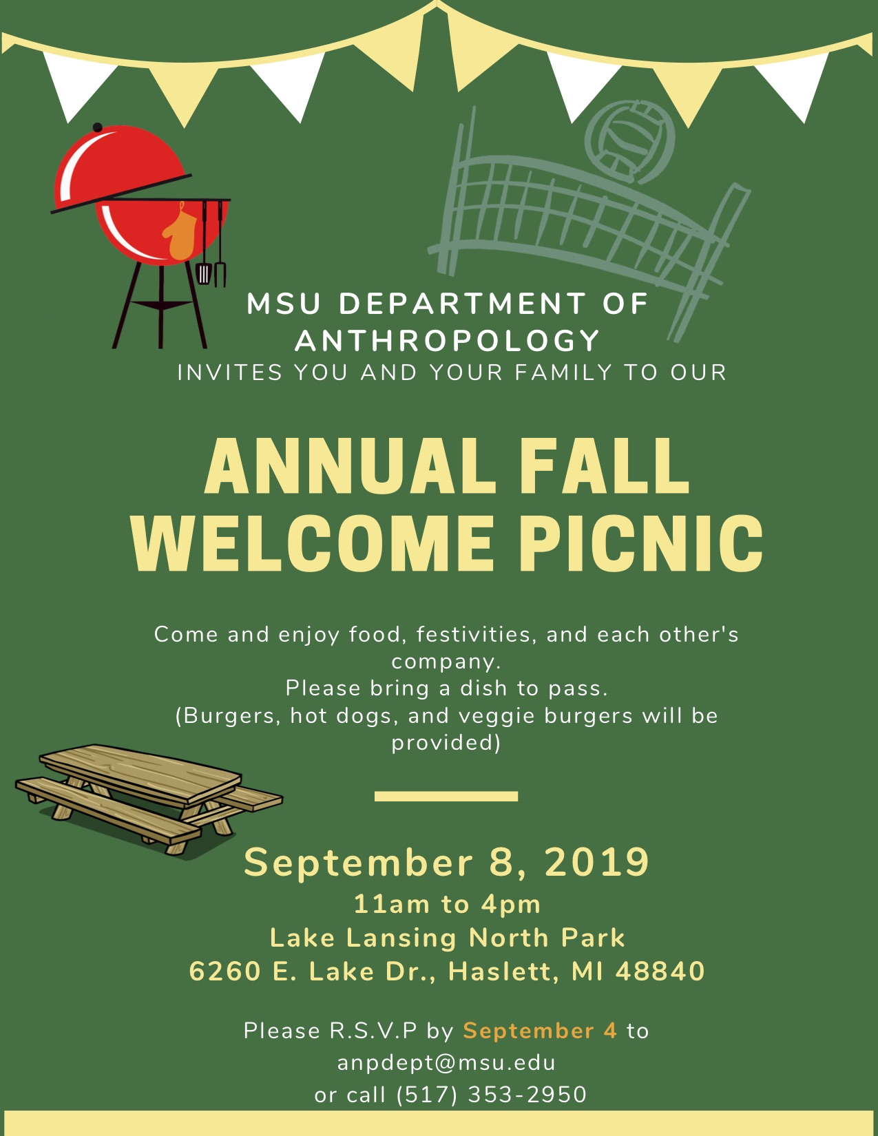 MSU Department of Anthropology Annual Fall Picnic Flyer