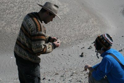 Dr. Rademaker and Taylor Panczak surveying prehistoric lithic workshops, 2018
